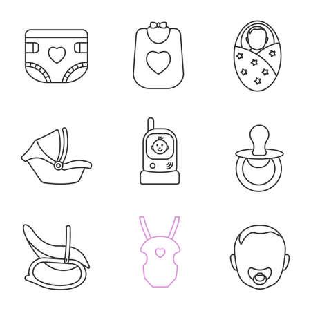 Set di icone lineare per l'infanzia. Pannolino per bambini, bavaglino, neonato, seggiolino auto, radio baby sitter, ciuccio, sedia a dondolo, borsa per il trasporto, viso bambino. Simboli di contorno di linea sottile. Illustrazioni di contorno vettoriale isolato Vettoriali