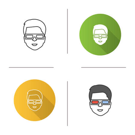 Man with polarized 3D glasses icon. Anaglyph glasses. Flat design, linear and color styles. Isolated vector illustrations Illustration