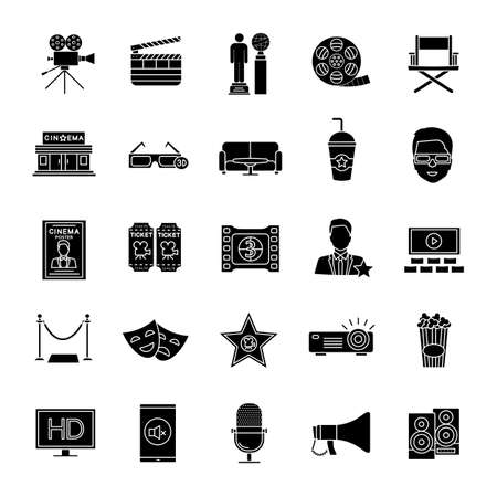 Cinema glyph icons set. Movie theater. Equipment, service, awards. Silhouette symbols. Vector isolated illustration