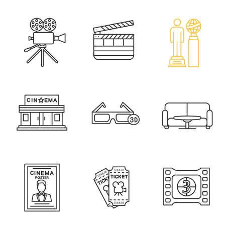 Cinema linear icons set. Movie camera, clapperboard, awards, cinema building, 3D glasses, film frame, tickets, poster, table and sofa. Thin line contour symbols. Isolated vector outline illustrations Vectores