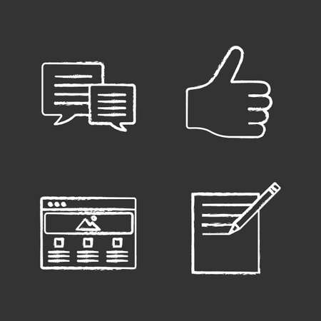 Information center chalk icons set. Chatting, taking notes, thumbs up, web page. Isolated vector chalkboard illustrations