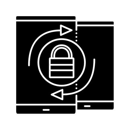 Devices passwords changing glyph icon. Silhouette symbol. Cybersecurity. Smartphone security synchronization. Negative space. Vector isolated illustration