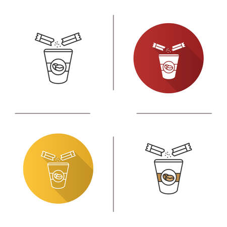 Adding sugar to coffee icon. Disposable coffee cup and sugar sachet. Flat design, linear and color styles. Isolated vector illustrations