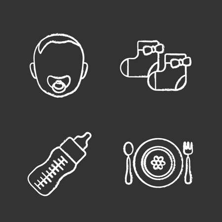Childcare chalk icons set. Baby face with pacifier, girl socks, feeding bottle, child plate, fork and spoon. Isolated vector chalkboard illustrations