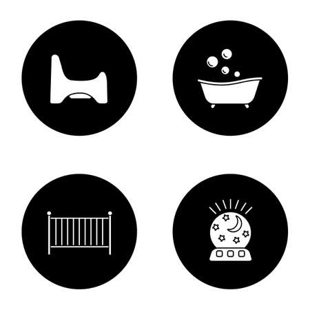 Childcare glyph icons set. Potty chair, bathtub, crib, night light. Vector white silhouettes illustrations in black circles