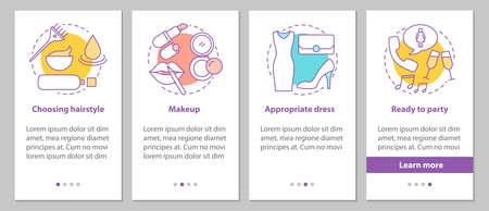 Getting ready for party onboarding mobile app page screen with concepts. Beauty salon steps graphic instructions. Appropriate hairstyle, makeup, dress. UX, UI, GUI vector template with illustrations