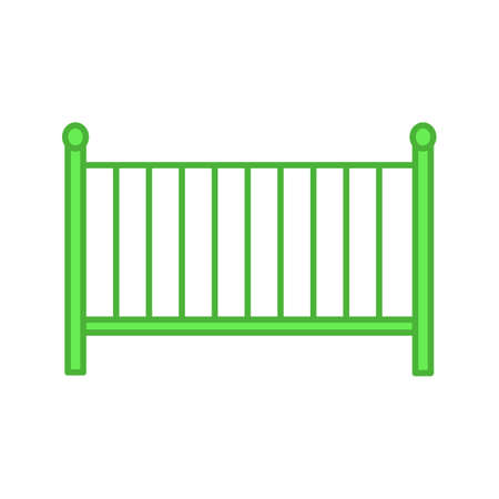 Crib color icon. Cradle. Baby cot bed. Isolated vector illustration Illustration
