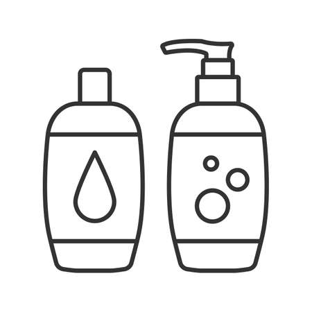 Shampoo and bath foam linear icon. Thin line illustration. Soap and shower gel. Hygiene products. Contour symbol. Vector isolated outline drawing