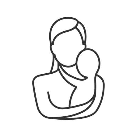 Mother holding newborn baby linear icon. Thin line illustration. Childbirth. Motherhood. Contour symbol. Vector isolated outline drawing