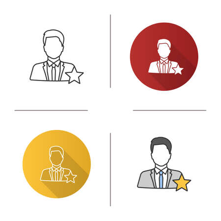 Actor or TV presenter icon. Movie star. Flat design, linear and color styles. Isolated vector illustrations