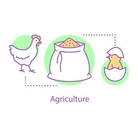 Agriculture concept icon. Poultry farming idea thin line illustration. Vector isolated outline drawing