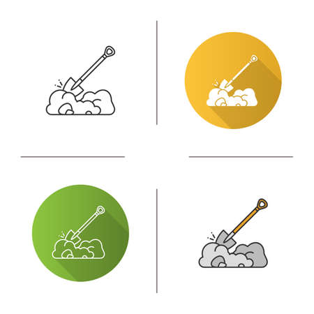 Digging shovel icon. Spade. Flat design, linear and color styles. Isolated vector illustrations