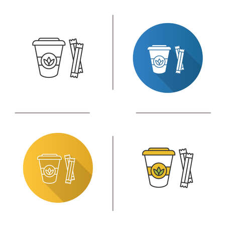 Tea to go with sugar sachets icon. Disposable tea cup with lid. Flat design, linear and color styles. Isolated vector illustrations Иллюстрация