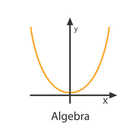 Coordinate system with parabola color icon. Algebra. Axis system. Isolated vector illustration