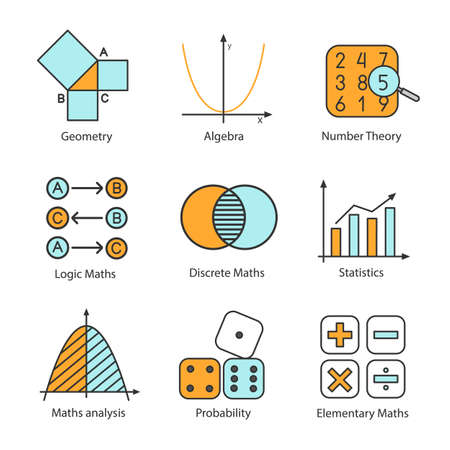 Jeu d'icônes de couleur mathématiques. Algèbre et géométrie. Théories logiques, discrètes, mathématiques élémentaires, statistiques, nombres et probabilités. Illustrations vectorielles isolées