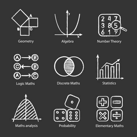 Ensemble d'icônes de craie de mathématiques. Algèbre et géométrie. Logique, discrète, mathématiques élémentaires, statistiques, théories des nombres et des probabilités. Illustrations de tableau de vecteur isolé