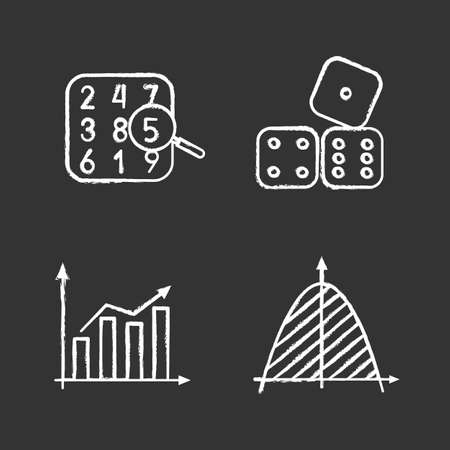 Mathematics chalk icons set. Number theory, statistics, coordinate system, dices. Isolated vector chalkboard illustrations