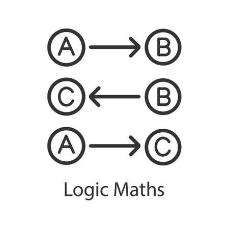 Icono lineal de matemáticas lógicas. Ilustración de línea fina. Reglas lógicas. Proceso de pensamiento. Símbolo de contorno. Dibujo de contorno aislado del vector