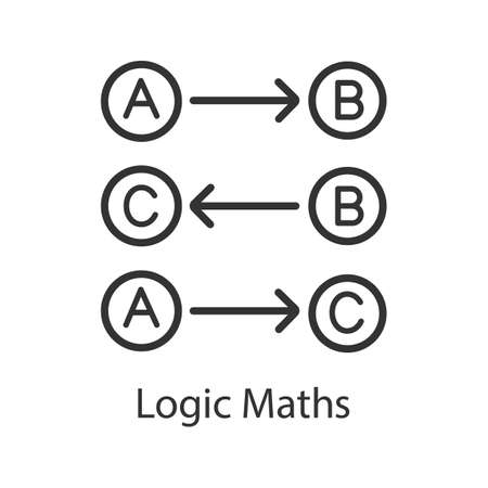 Logic maths linear icon. Thin line illustration. Logical rules. Thinking process. Contour symbol. Vector isolated outline drawing Illustration