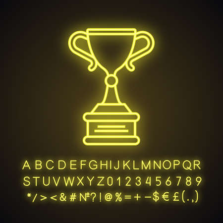 Champion cup neon light icon. Ice hockey championship winners award. Glowing sign with alphabet, numbers and symbols. Vector isolated illustration