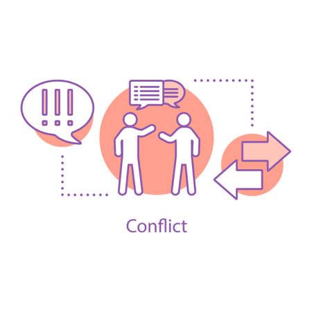 Icona del concetto di conflitto. Illustrazione al tratto sottile di idea di disaccordo. Litigare. Disegno di assieme isolato vettoriale