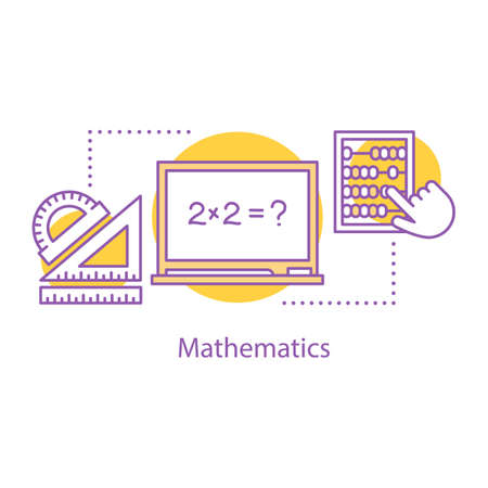 Mathematics concept icon. Math. School education idea thin line illustration. Geometry and algebra. Vector isolated outline drawing Illustration