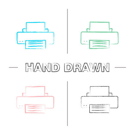 Printer hand drawn icons set. Printing machine. Color brush stroke. Isolated vector sketchy illustrations