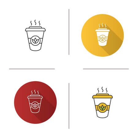 Tea to go icon. Detox drink. Disposable tea cup with lid. Flat design, linear and color styles. Isolated vector illustrations