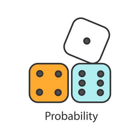 Würfel Farbsymbol. Wahrscheinlichkeitstheorie. Glücksspiel. Isolierte Vektorillustration Vektorgrafik