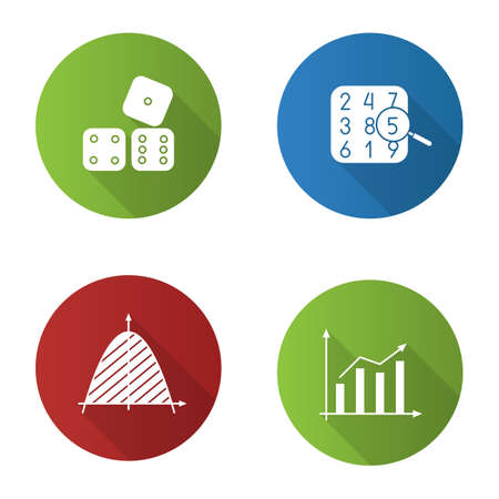 Mathematics flat design long shadow glyph icons set. Number theory, statistics, coordinate system, dices. Vector silhouette illustration