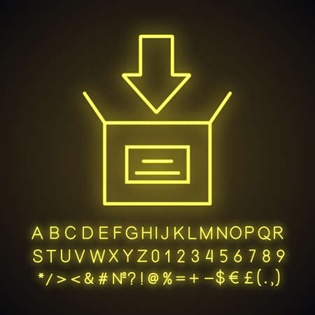 Parcel packing neon light icon. Open box with down arrow. Downloading. Glowing sign with alphabet, numbers and symbols. Vector isolated illustration