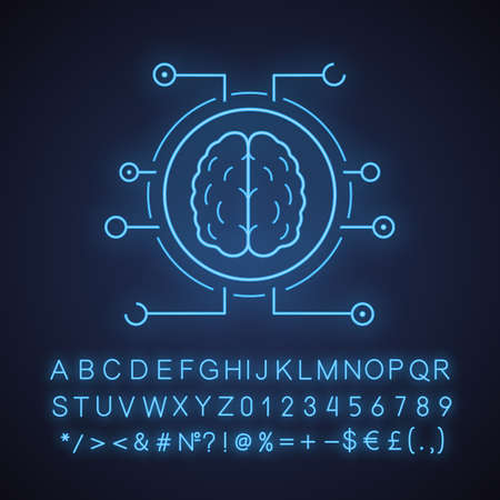 Neurotechnology neon light icon. Digital brain. Artificial intelligence. Glowing sign with alphabet, numbers and symbols. Vector isolated illustration Vektorové ilustrace