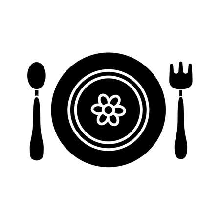 Baby plate with spoon and fork glyph icon. Silhouette symbol. Negative space. Baby dishes with flower. Vector isolated illustration Standard-Bild - 105044546