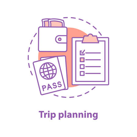Going on trip concept icon. Travel planning idea thin line illustration. Money, passport, necessary things list. Vector isolated outline drawing