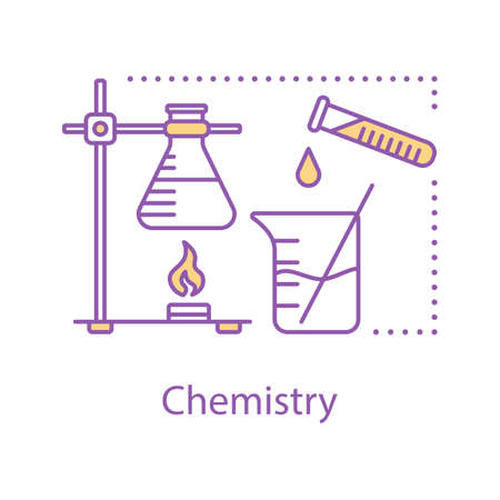 Chemistry concept icon. Chemical research idea thin line illustration. Science. Laboratory equipment. Diagnostic or scientific lab. Vector isolated outline drawing Ilustração Vetorial