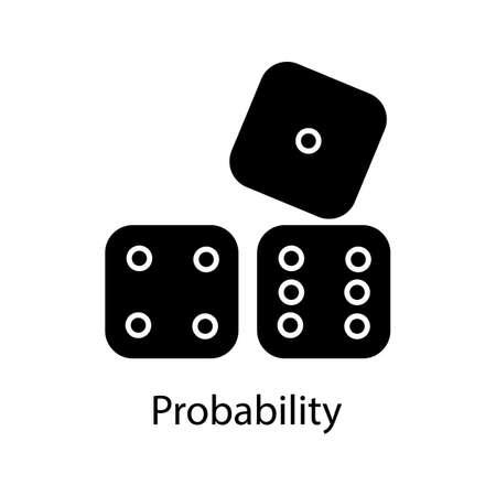Würfel Glyphensymbol. Wahrscheinlichkeitstheorie. Glücksspiel. Schattenbildsymbol. Negativer Raum. Vektor isolierte Illustration Vektorgrafik