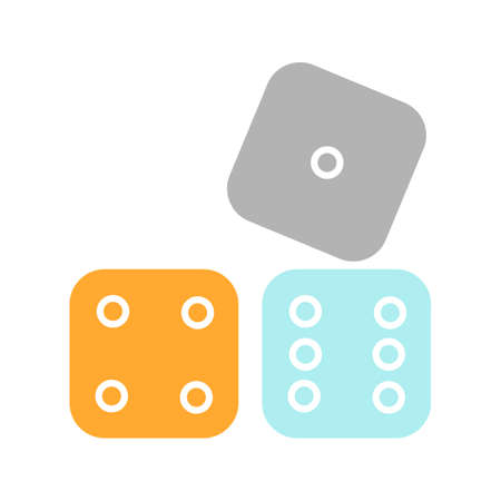 Dices glyph color icon. Probability theory. Gambling. Silhouette symbol on white background with no outline. Negative space. Vector illustration
