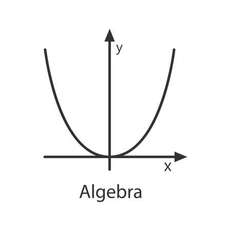 Sistema de coordenadas con icono lineal de parábola. Ilustración de línea fina. Álgebra. Sistema de ejes. Símbolo de contorno. Dibujo de contorno aislado del vector
