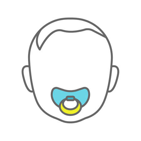 Baby face with pacifier color icon. Child with soother in mouth. Isolated vector illustration