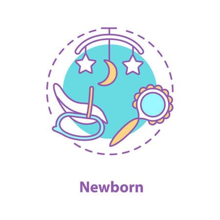 Icona di concetto di assistenza all'infanzia. Idea dell'attrezzatura del neonato. Illustrazione al tratto sottile. Sonaglio, giostra letto, sedia a dondolo. Disegno di assieme isolato vettoriale