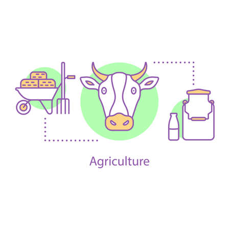 Agriculture concept icon. Diary and livestock farming idea thin line illustration. Vector isolated outline drawing