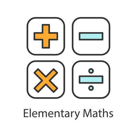 Icona di colore di simboli di matematica. Calcolo. Matematica elementare. Più, meno, moltiplica, dividi. Illustrazione vettoriale isolato