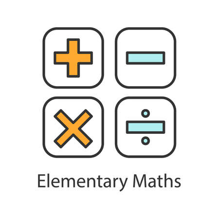 Maths symbols color icon. Calculating. Elementary mathematics. Plus, minus, multiply, divide. Isolated vector illustration
