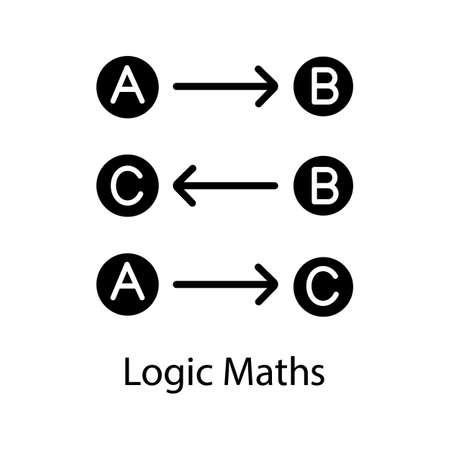 Icono de glifo de lógica matemática. Reglas lógicas. Proceso de pensamiento. Símbolo de silueta. Espacio negativo. Ilustración de vector aislado