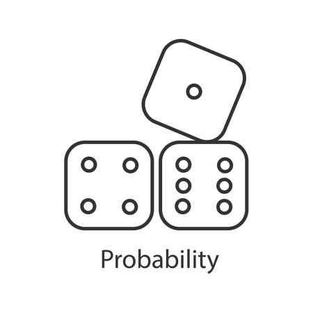 Würfelt lineares Symbol. Wahrscheinlichkeitstheorie. Dünne Linie Abbildung. Glücksspiel. Kontursymbol. Vektor isolierte Umrisszeichnung