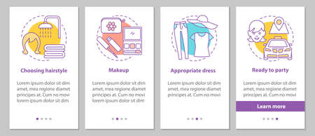 Getting ready for party onboarding mobile app page screen with concepts. Beauty salon steps graphic instructions. Appropriate hairstyle, makeup, dress. UX, UI, GUI vector template with illustrations Vector Illustration