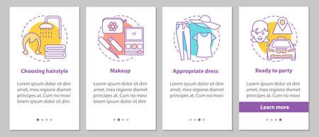 Voorbereidingen treffen voor het onboarding-scherm van de mobiele app-pagina met concepten. Schoonheidssalon stappen grafische instructies. Passend kapsel, make-up, jurk. UX, UI, GUI vector sjabloon met illustraties Vector Illustratie
