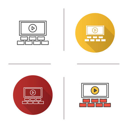 Cinema hall icon. Movie theater. Flat design, linear and color styles. Isolated vector illustrations