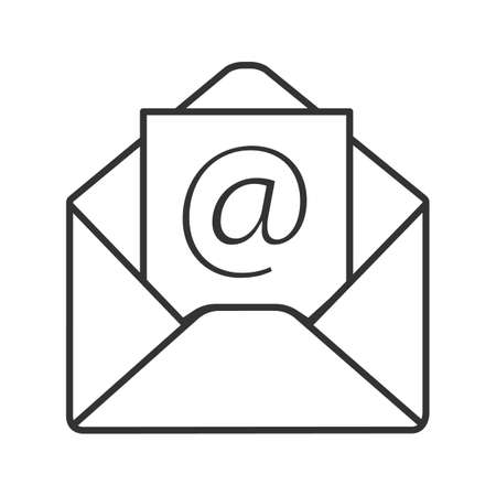 E-mail address linear icon. Thin line illustration. Envelope with arroba sign. Contour symbol. Vector isolated outline drawing