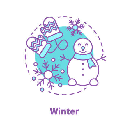 Winter season concept icon. Snowy weather idea thin line illustration. Winter entertainment. Snowman making. Vector isolated outline drawing